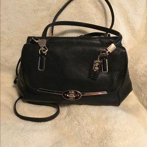Coach Madison Madeline black leather satchel